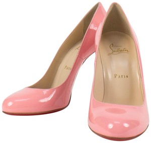 Christian Louboutin Patent Leather Leather Lining Stiletto Round Toe Pink Pumps