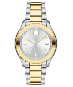 Movado Stainless Silver Gold Bracelet Silver Dial Bold 3600418