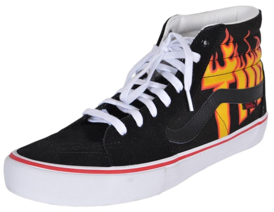 48caaec773bd67 Vans Black Multi Men s Sk8-hi Thrasher Flame High Tops Skate ...