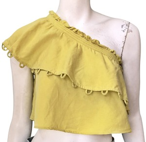 APIECE APART Cropped One Shoulder Linen Top Yellow