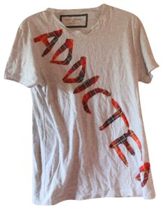 Zara Mens Addicted Plaid T Shirt Grey