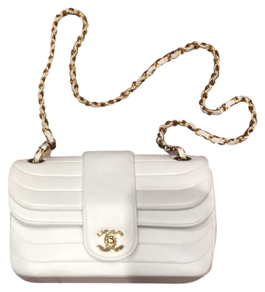 a415b1baa789 Chanel Classic Double Flap Vintage Horizontal Stitches Gold White ...