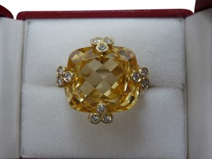 Judith Ripka Judith Ripka 18K Solid Yellow Gold Olivia Cushion Canary Cocktail Diamond Ring