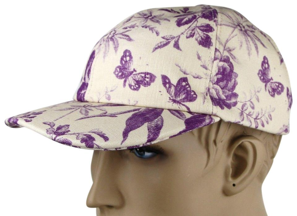 1d41c53375a69 Gucci Beige Purple Canvas Baseball Cap with Floral Print L 408793 5278  Image 0 ...