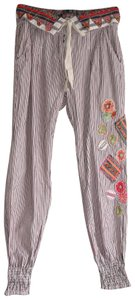 f8b5caee5e Desigual Multicolor Cuffed Ankle Pin Stripe Fold Over Paper Bag Waist Pants Size  2 (XS