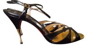 Christian Louboutin Stiletto Strappy Gold Patent Noeudette Black Sandals