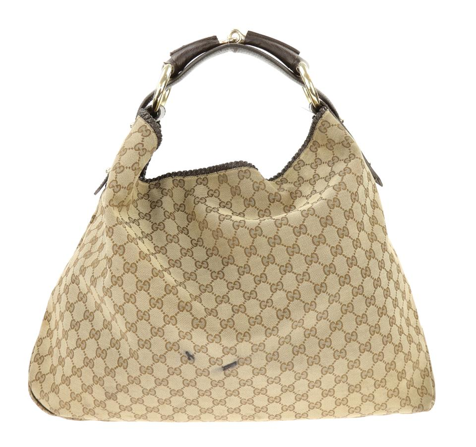 5534abd457be77 Gucci Horsebit Gg Brown Canvas Hobo Bag - Tradesy