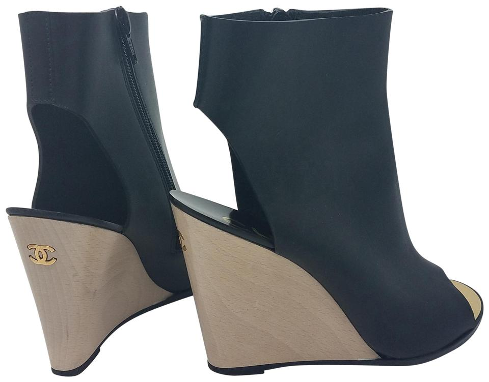 2672979a0968 Chanel Black Gold Leather Interlocking Cc Peep-toe Boots Booties ...