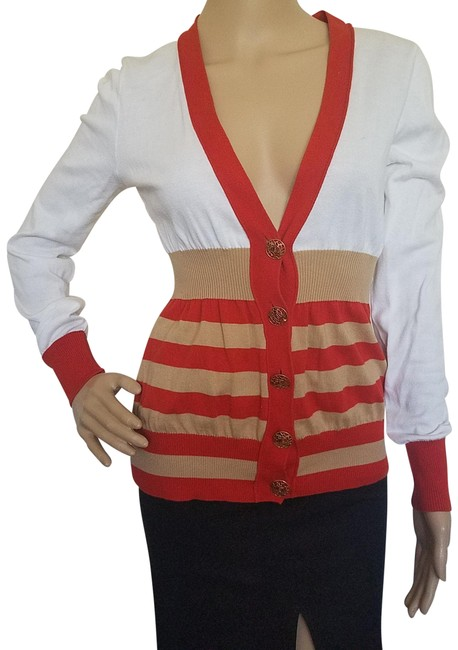 Item - Orange Beige White Gold Red Multicolor Striped Cardigan Size 8 (M)