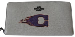 "Coach Coach Leather Accordian Zip Flame ""C"" Motif Wallet"