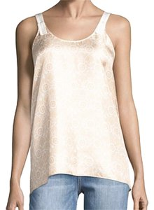 Helmut Lang Unfinished Straps Ultra Dainty Print Back Button Closure Silk Allover Floral Print Top Peach