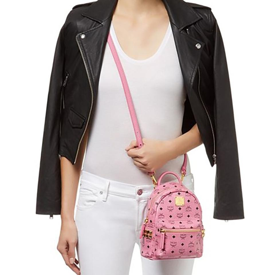 fa89dd07647 MCM X-mini Stark Bebe In Side Studded Visetos Pink Leather Backpack ...
