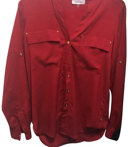 Calvin Klein Button Down Shirt red