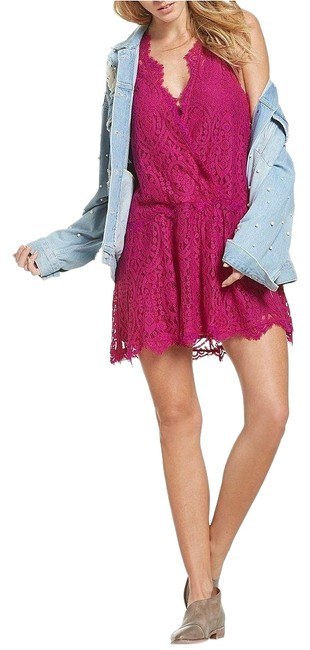 Item - Bright Orchid Heart In Two Lace Mini Short Night Out Dress Size 2 (XS)