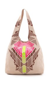 Twelfth St. by Cynthia Vincent Leather Suede Silkscreen Tote in Beige