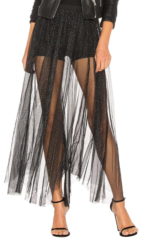 b71a266eed Free People Black Brightest Star Tulle Maxi Skirt Shorts Size 12 (L ...