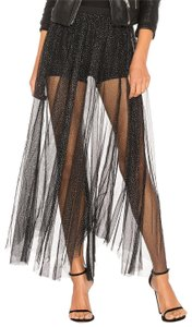 Free People Tulle Maxi Sheer Underlay Glitter Skirt black