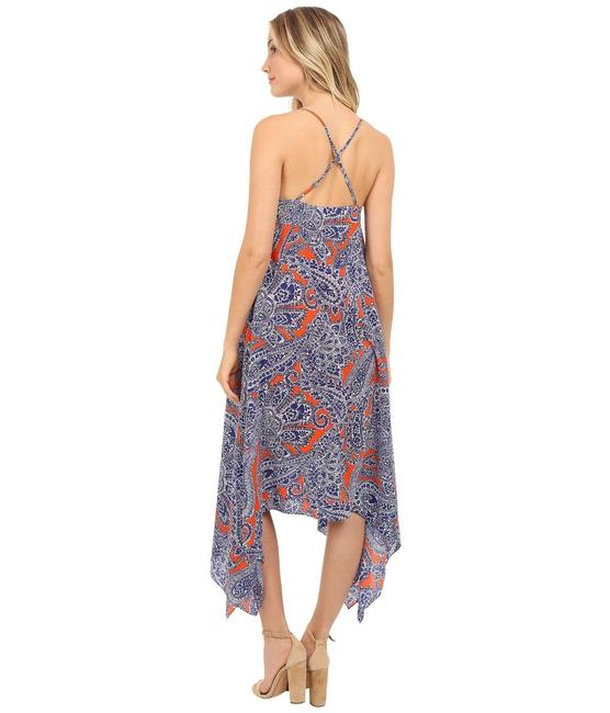 blue Maxi Dress by Trina Turk Summer Vacation Silk Asymmetrical Beach