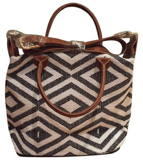 Preload https://img-static.tradesy.com/item/23330043/custom-carryall-cream-and-black-with-tan-leather-handwoven-cotton-tote-0-0-540-540.jpg