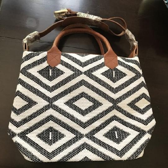 Tribe Alive Designed By Women Made By Women Tote in Cream and Black with Tan Leather
