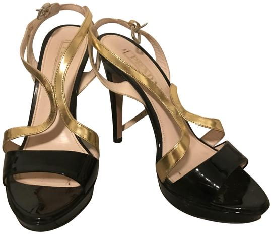 Prada Black Crisscross Strap Gold Sandals