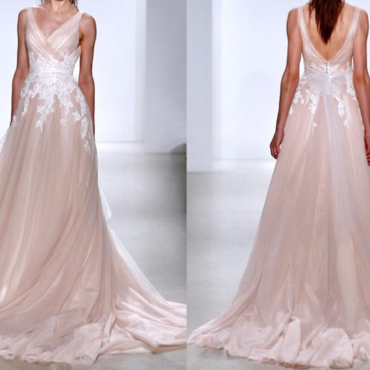 Kelly Faetanini Blush Tulle with Appliqué and Custom Buttons To End Of Train The Yona Feminine Wedding Dress Size 24 (Plus 2x)