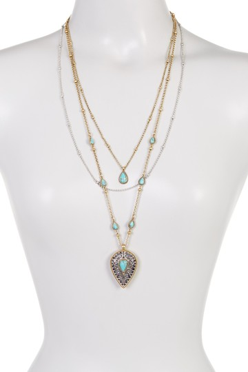Lucky Brand Lucky Brand Etched Turquoise Layer Necklace