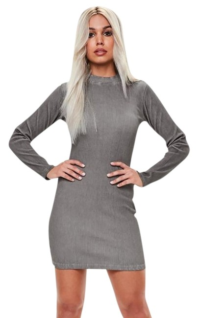 Preload https://img-static.tradesy.com/item/23330099/missguided-grey-ribbed-long-sleeve-mini-mid-length-night-out-dress-size-6-s-0-1-650-650.jpg