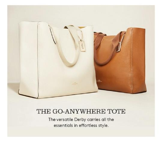 Coach Carry All Leather Darby Tote in White