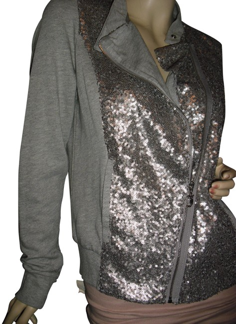 Preload https://item1.tradesy.com/images/juicy-couture-gray-w-gray-sequins-front-slanted-zipper-hundreds-of-logo-tag-cardigan-size-6-s-23330125-0-2.jpg?width=400&height=650
