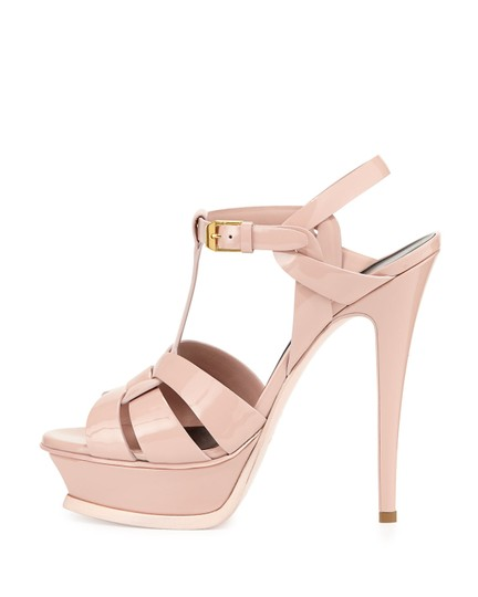 Saint Laurent Tribute Platform Ysl Pale Rose Sandals