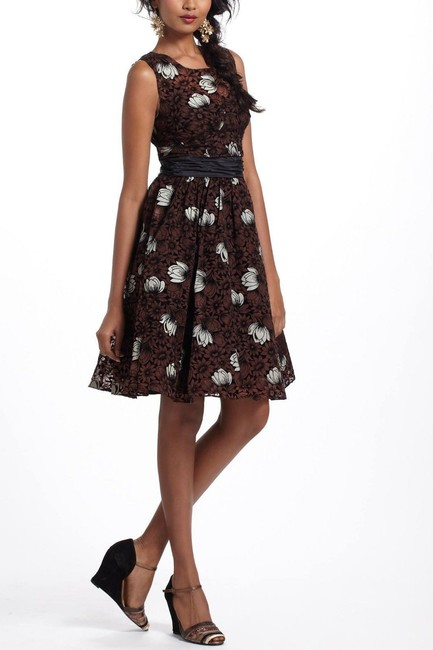 Anthropologie Velvet Floral Party Winter Dress
