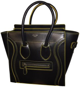 Céline Tote in Black with Yellow accents