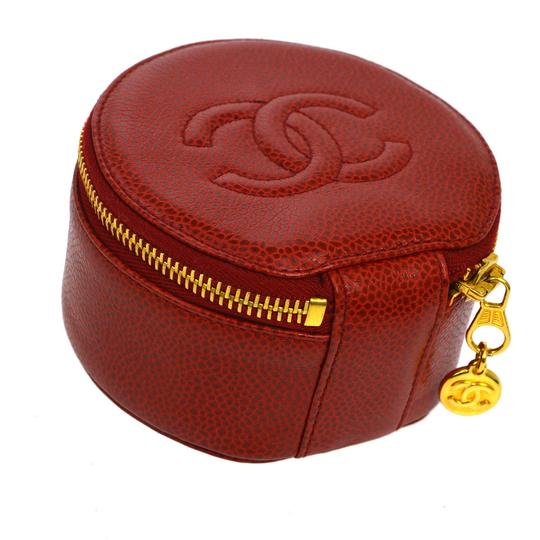 Chanel Red Caviar Leather Jewelry Case