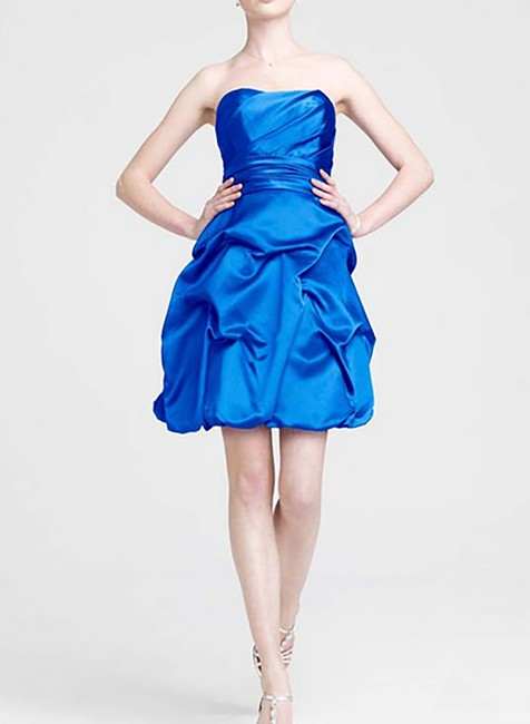 Item - Horizon Blue Satin Strapless Short with Ruching Sexy Bridesmaid/Mob Dress Size 2 (XS)