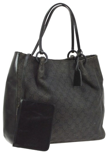 Preload https://item2.tradesy.com/images/gucci-vintage-pursesdesigner-purses-black-large-g-logo-print-canvas-and-black-leather-and-tote-23330246-0-2.jpg?width=440&height=440