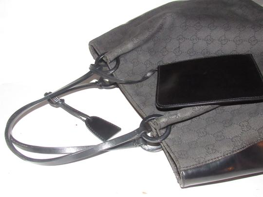 Gucci Perfect Medium Excellent Vintage With Wallet Heavy Denim Tote in black large G logo print canvas & black leather
