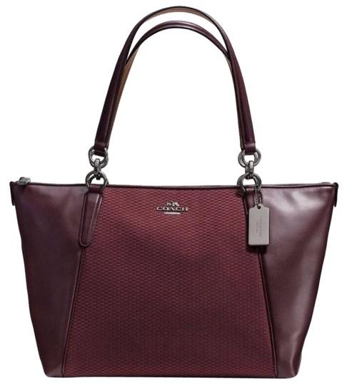 Preload https://item5.tradesy.com/images/coach-ava-legacy-jacquard-f-57246-oxblood-leather-tote-23330269-0-1.jpg?width=440&height=440