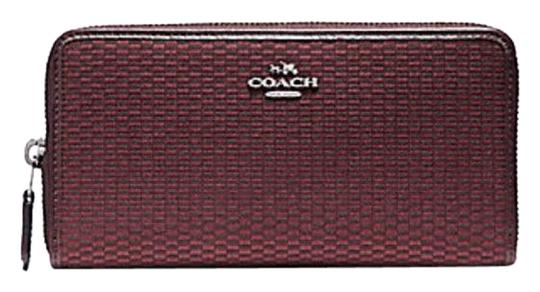 Preload https://img-static.tradesy.com/item/23330274/coach-oxblood-red-f13677-accordion-zip-in-legacy-jacquard-wallet-0-1-540-540.jpg