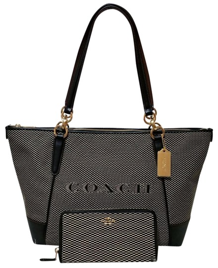Preload https://item5.tradesy.com/images/coach-ava-legacy-jacquard-wallet-set-milk-black-leather-tote-23330304-0-1.jpg?width=440&height=440