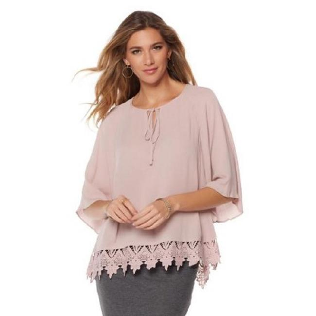 Preload https://img-static.tradesy.com/item/23330306/daisy-fuentes-blush-lace-trimmed-round-neck-stretch-knit-blouse-tunic-size-2-xs-0-0-650-650.jpg