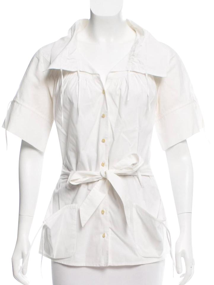 d6d7a1bcd84ed Anne Fontaine White Short Sleeve Button-up Blouse Size 8 (M) - Tradesy
