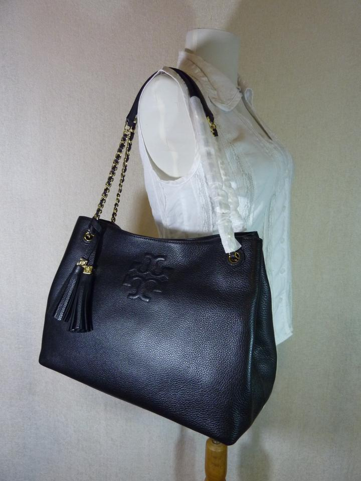 Pebbled Chain Leather Tory Burch Slouchy Black Tote Thea XZnWFwqa