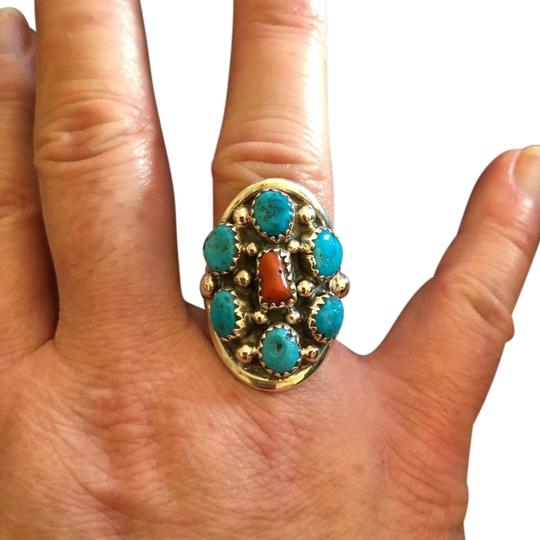 Preload https://item1.tradesy.com/images/navajo-925-coral-and-turquoise-shield-design-ring-23330330-0-1.jpg?width=440&height=440