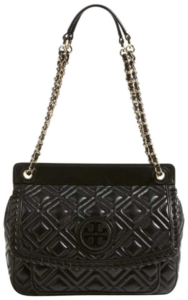 909a5fe4063 Tory Burch Marion Quilted Small Saddle Black Leather Shoulder Bag ...