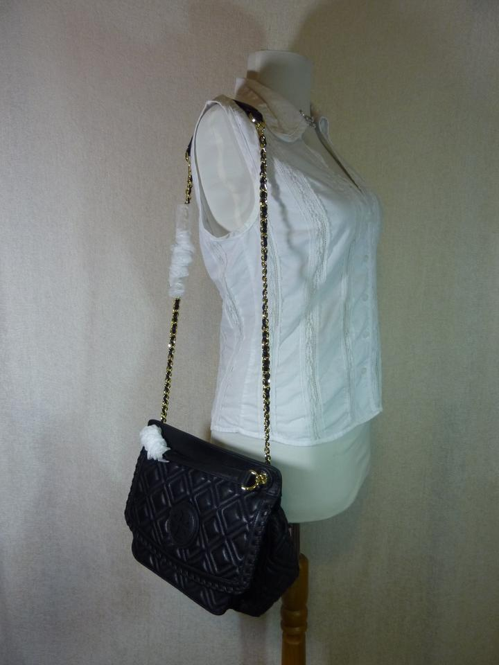Leather Shoulder Saddle Quilted Marion Bag Tory Small Burch Black Sqvx7Yw