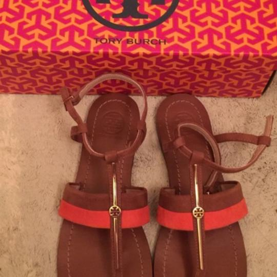 Tory Burch tan and orange Sandals