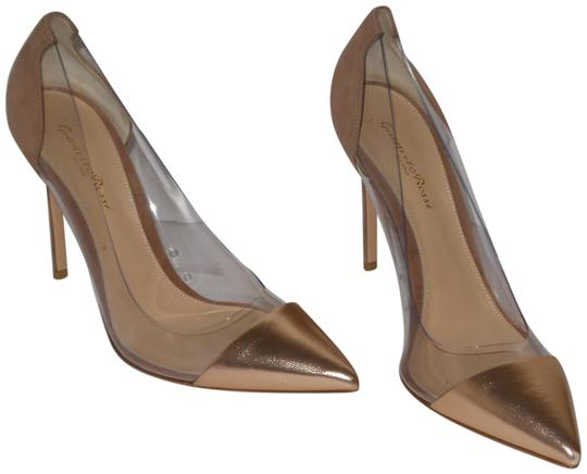 Preload https://item1.tradesy.com/images/gianvito-rossi-gold-and-beige-silk-praline-plexi-pumps-size-eu-405-approx-us-105-regular-m-b-23330490-0-1.jpg?width=440&height=440