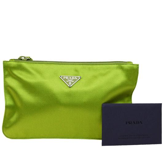 Preload https://img-static.tradesy.com/item/23330572/prada-green-satin-pouchcosmetic-cosmetic-bag-0-0-540-540.jpg