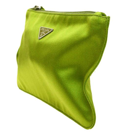 Prada Green Satin Pouch/Cosmetic Bag